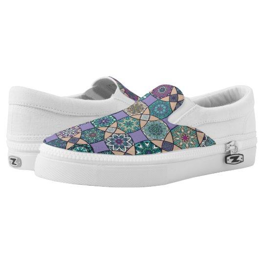 Vintage patchwork with floral mandala elements slip on shoes