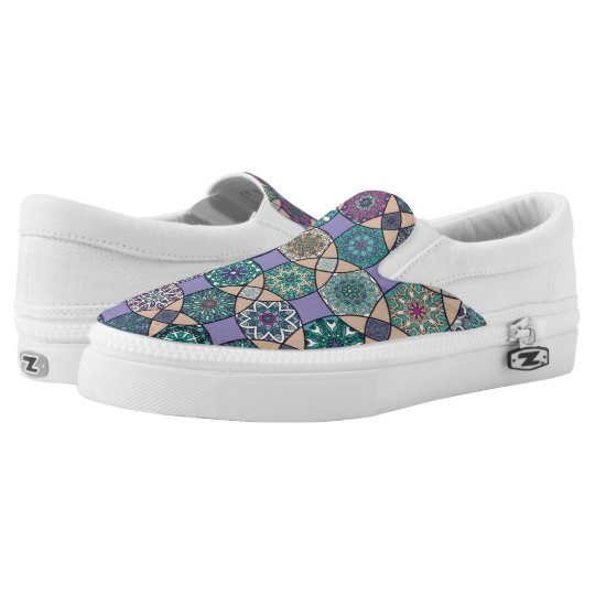 Vintage patchwork with floral mandala elements slip on shoes