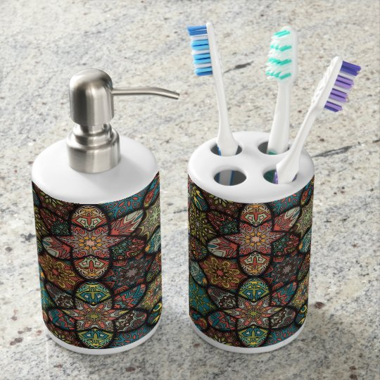 Vintage patchwork with floral mandala elements soap dispenser and toothbrush holder