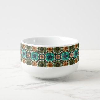 Vintage patchwork with floral mandala elements soup mug