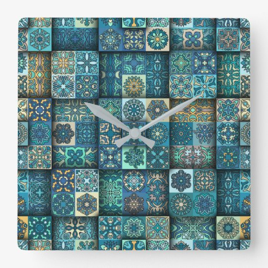 Vintage patchwork with floral mandala elements square wall clock