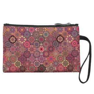 Vintage patchwork with floral mandala elements suede wristlet