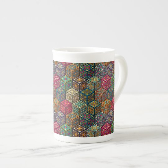 Vintage patchwork with floral mandala elements tea cup