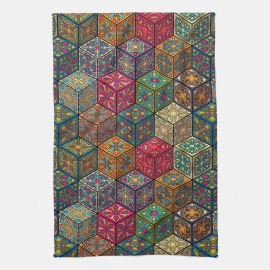 Vintage patchwork with floral mandala elements tea towel