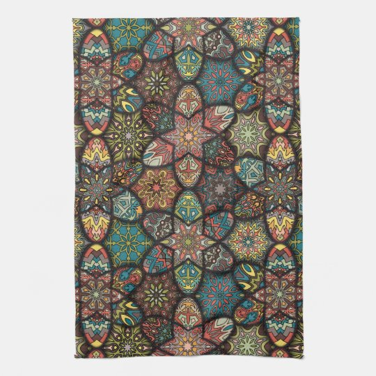Vintage patchwork with floral mandala elements tea towel