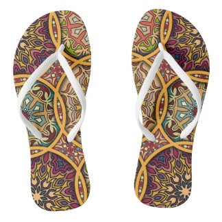 Vintage patchwork with floral mandala elements thongs