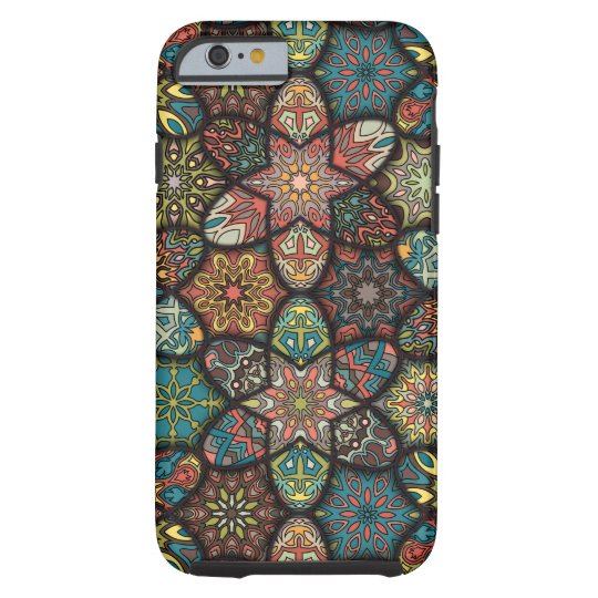 Vintage patchwork with floral mandala elements tough iPhone 6 case