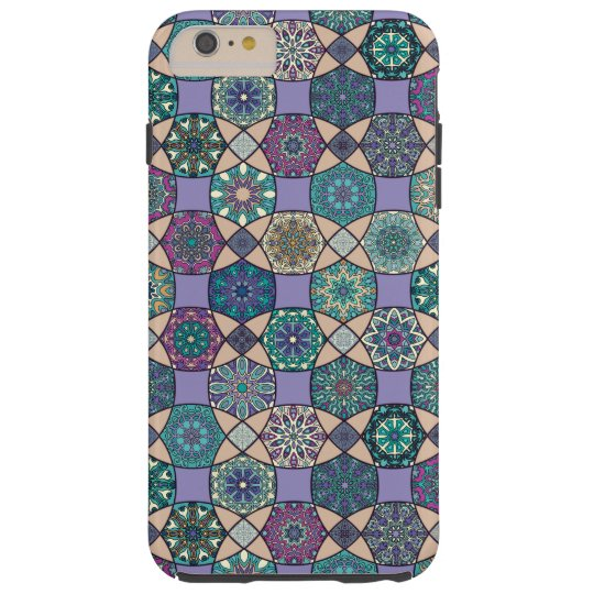 Vintage patchwork with floral mandala elements tough iPhone 6 plus case