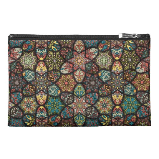 Vintage patchwork with floral mandala elements travel accessory bag