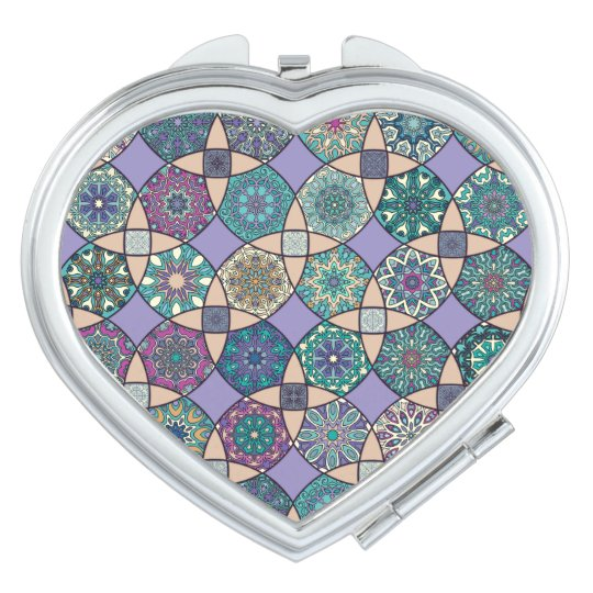 Vintage patchwork with floral mandala elements travel mirror