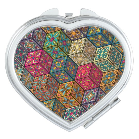 Vintage patchwork with floral mandala elements travel mirrors