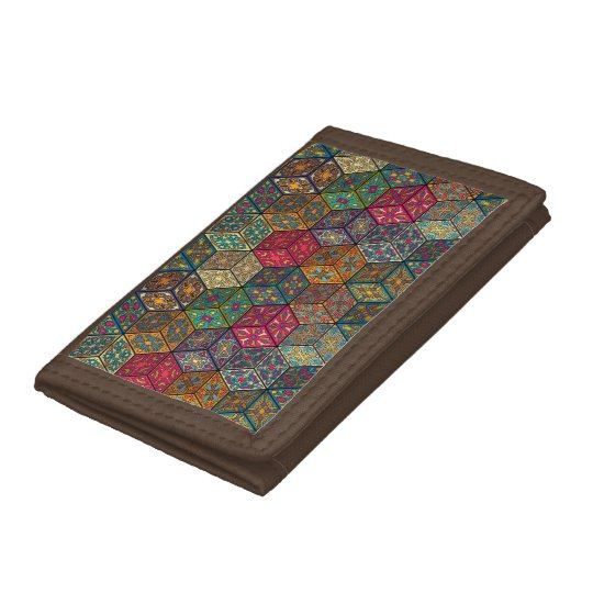 Vintage patchwork with floral mandala elements tri-fold wallet