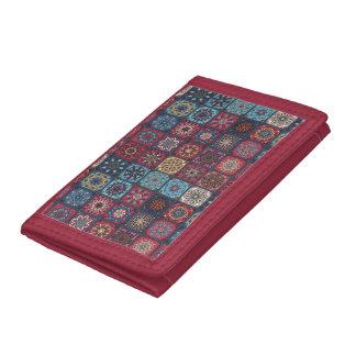 Vintage patchwork with floral mandala elements tri-fold wallets