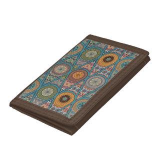 Vintage patchwork with floral mandala elements trifold wallet