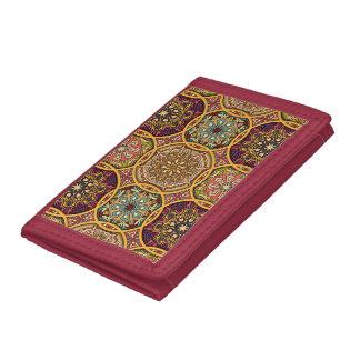 Vintage patchwork with floral mandala elements trifold wallets