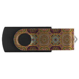 Vintage patchwork with floral mandala elements USB flash drive
