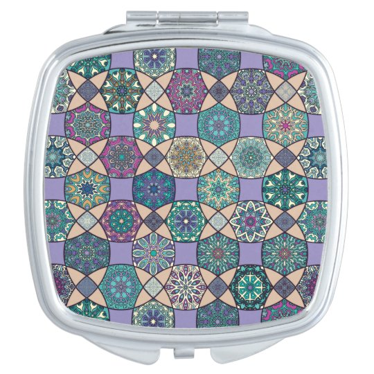 Vintage patchwork with floral mandala elements vanity mirror