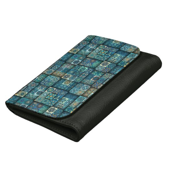 Vintage patchwork with floral mandala elements wallets for women