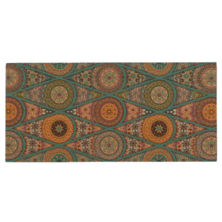 Vintage patchwork with floral mandala elements wood USB flash drive
