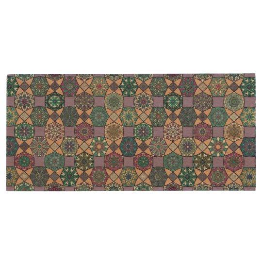 Vintage patchwork with floral mandala elements wood USB flash drive