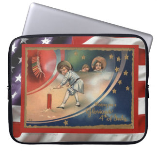 Vintage patriotic American 4th July firecrackers Computer Sleeve