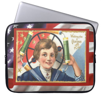 Vintage patriotic American 4th July firecrackers Computer Sleeves