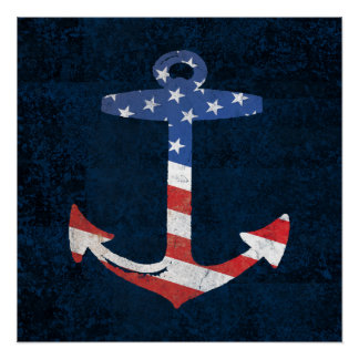 Vintage Patriotic American Flag Anchor Nautical US Poster