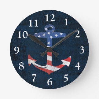 Vintage Patriotic American Flag Anchor Nautical US Round Clock