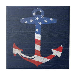 Vintage Patriotic American Flag Anchor Nautical US Small Square Tile