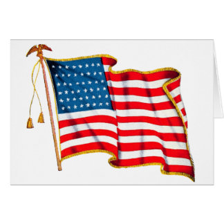 Vintage Patriotic American Flag, Fourth of July Greeting Card