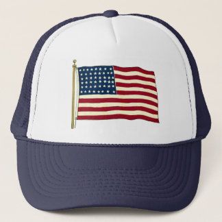 Vintage Patriotic American Flag, Fourth of July Trucker Hat