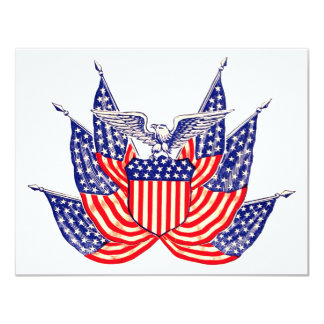 Vintage Patriotic American Flag, Party Invitation