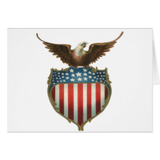Vintage Patriotic, Bald Eagle with American Flag Greeting Card