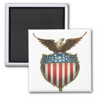 Vintage Patriotic, Bald Eagle with American Flag Square Magnet