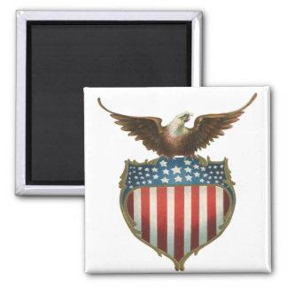 Vintage Patriotic, Bald Eagle with American Flag Square Magnet