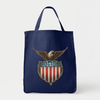 Vintage Patriotic, Bald Eagle with American Flag Grocery Tote Bag