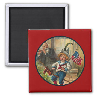 Vintage_Patriotic Boy and Horse_Square Magnet