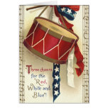 Vintage Patriotic, Drums with Musical Notes Card