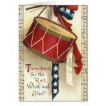 Vintage Patriotic, Drums with Musical Notes Card