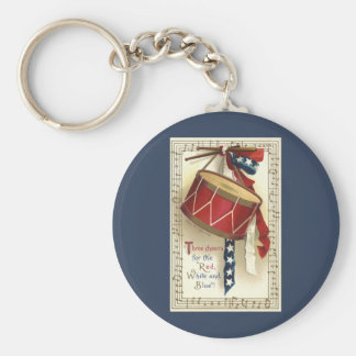 Vintage Patriotic, Drums with Musical Notes Key Chain