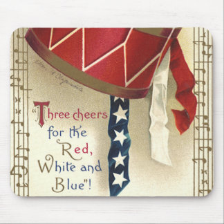 Vintage Patriotic, Drums with Musical Notes Mousepads