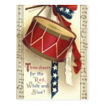 Vintage Patriotic, Drums with Musical Notes Postcards