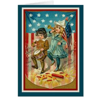 Vintage_Patriotic_Girl and Boy_Card Greeting Card