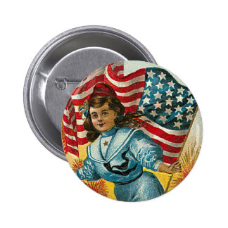 Vintage Patriotic_Girl and Flag_Button Pin