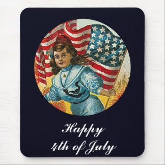 Vintage Patriotic_Girl and Flag_Mousepad Mousepads
