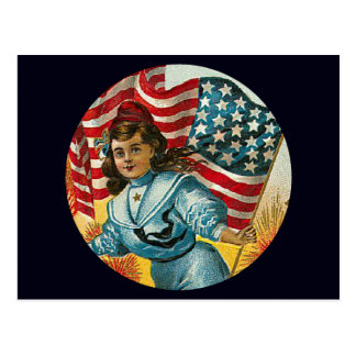Vintage Patriotic_Girl and Flag_Postcard Postcard