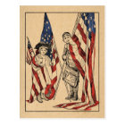 Vintage Patriotic Girl & Boy with American Flag Postcard