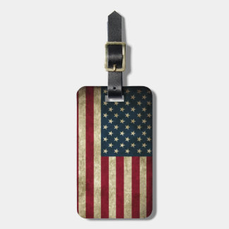 Vintage Patriotic Grunge USA American Flag Luggage Tag