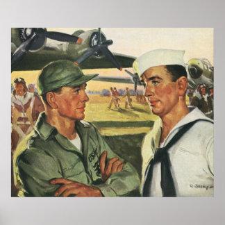 Vintage Patriotic Heroes, Military Personnel Poster