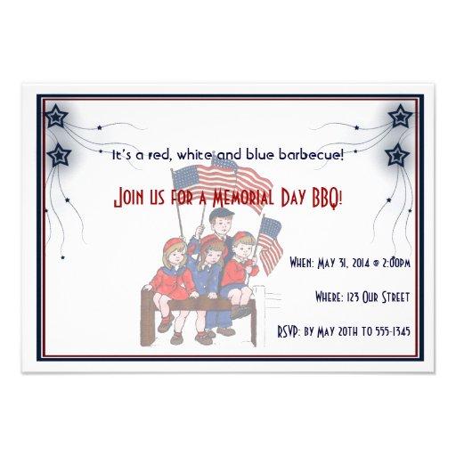 Vintage Patriotic Kids Memorial Day Invite